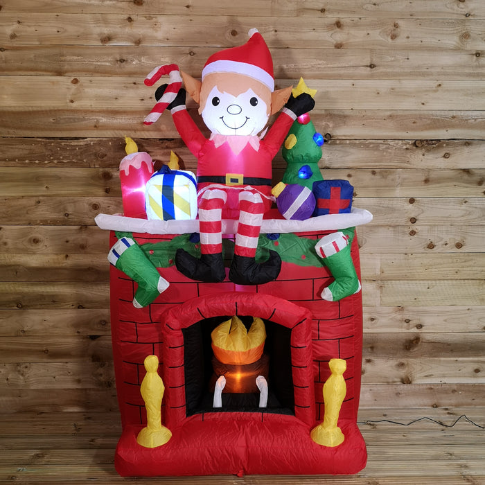 Premier Christmas 2M Light Up Fireplace Inflatable with Festive Elf and Presents