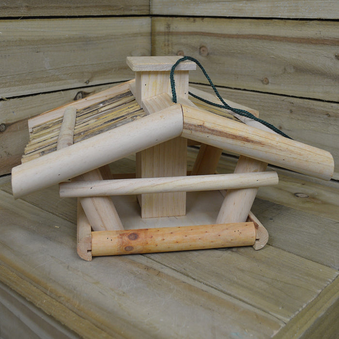 42.5 x 30 x 25.5cm Wooden Bird House / Feeder with Reed Roof