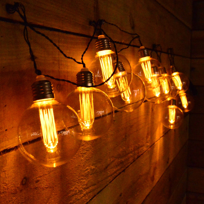10 x 8cm Warm White Retro LED Premier Edison Bulbs Battery Powered with Timer