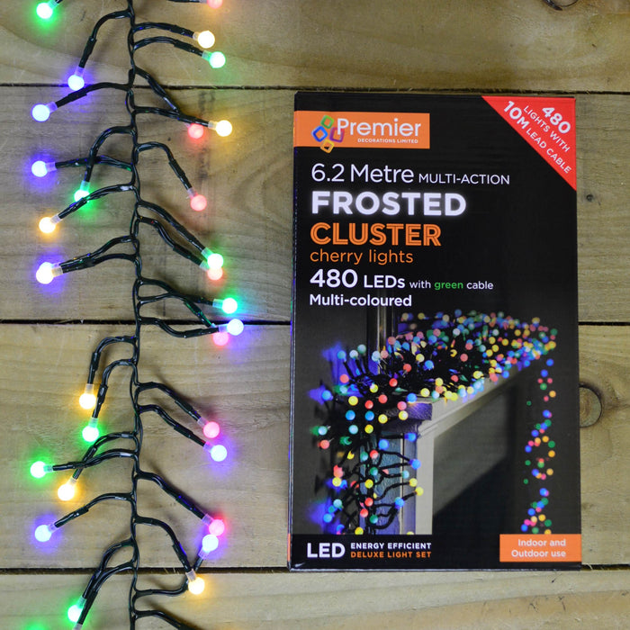 480 LED (6.2m) Premier Frosted Cluster Christmas Tree Lights - Multi Coloured