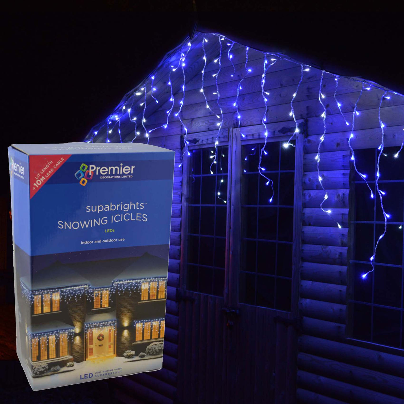 4 4m Premier 180 Led Outdoor Snowing Icicle Christmas Lights Blue