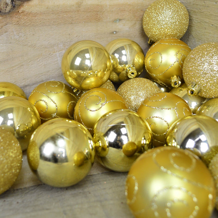 24 Pack 6cm Christmas Tree Baubles 4 Mixed Designs - Gold
