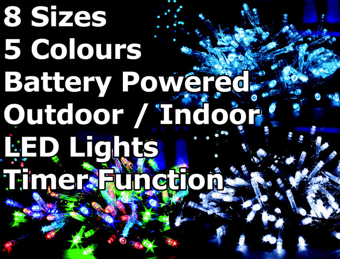 Battery Operated Multi Function Outdoor LED Timer Christmas Lights