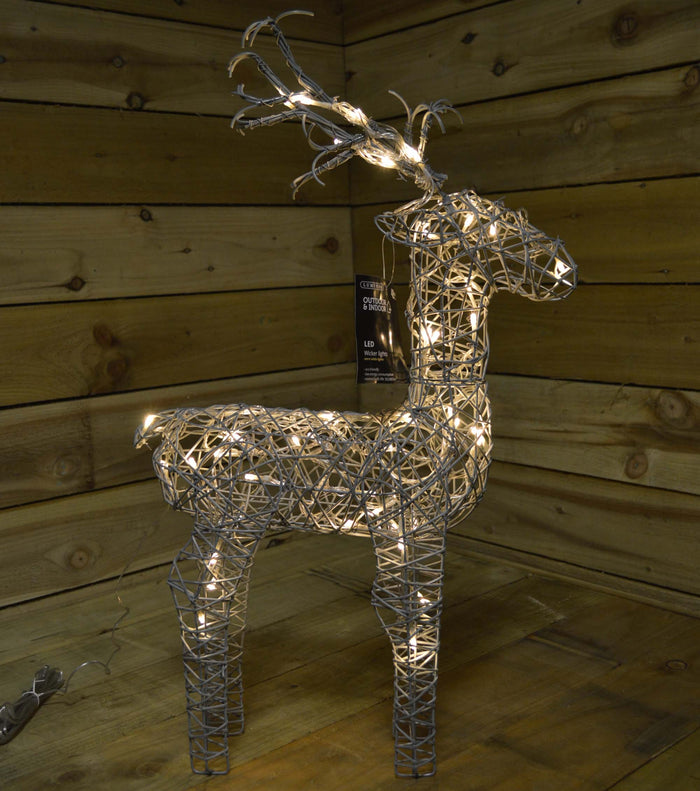74cm Grey Outdoor Standing Wicker Reindeer Decoration With LED Lights