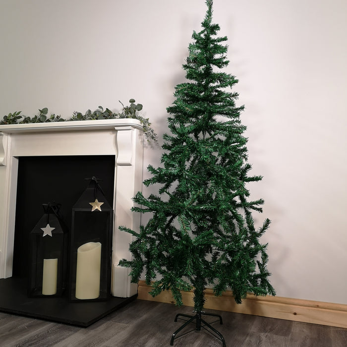 6ft (180cm) 450 Tip Green PVC Christmas Tree with Metal Base