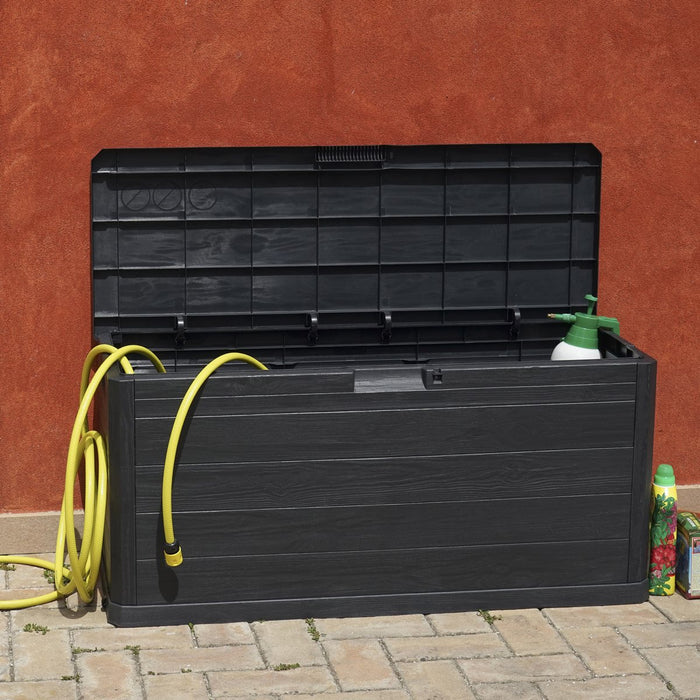 Trendy 280 Litre Plastic Outdoor Garden Storage Chest in Black