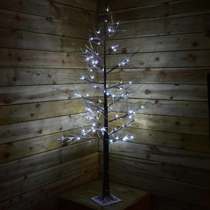 6ft Christmas LED Brown Lifelike Tree with Snow (96 Cool White LED Lights)