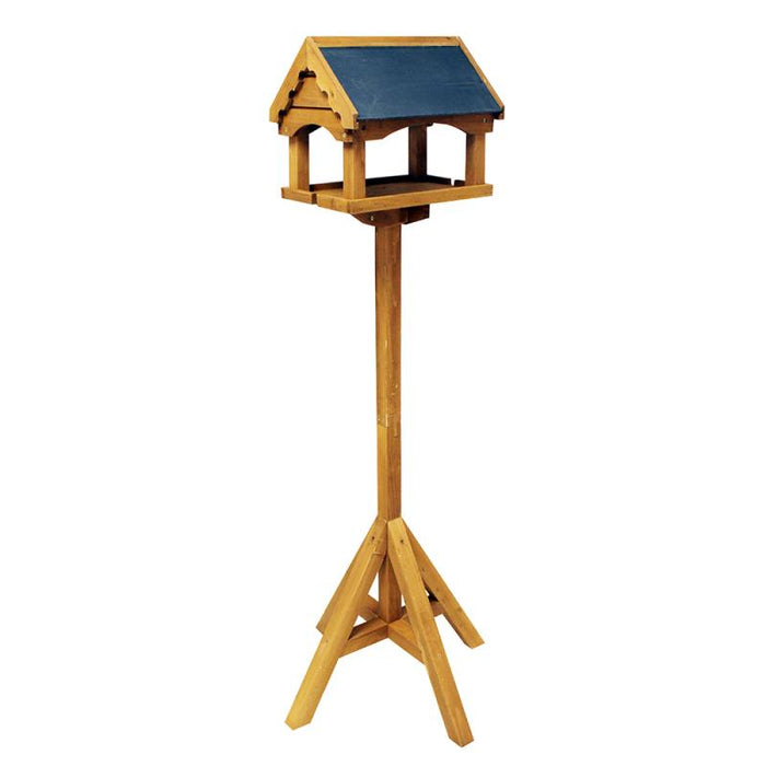 Deluxe Traditional Wooden Garden Bird Seed Feeder Table with Slate Roof