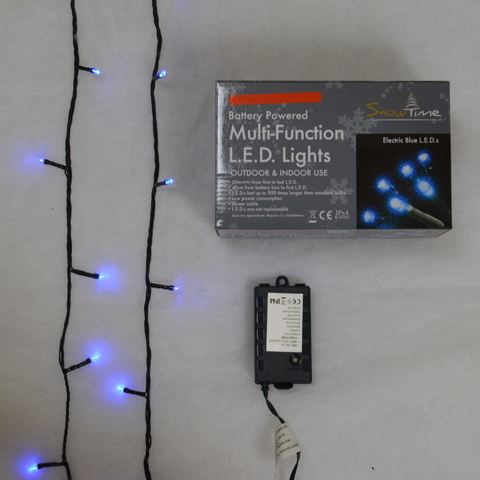 Super-Long 5m Battery Powered Multi-Function 50 LED Electric Blue Lights