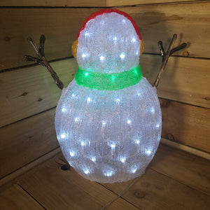 Lumineo 47cm Acrylic Christmas Snowman Green Scarf And Earmuffs Cool White LEDs