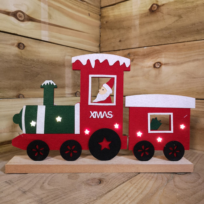 Premier 34cm Felt Christmas Santa on Train with 7 Warm White LED Lights