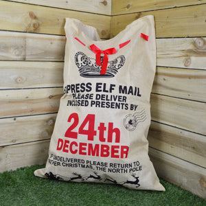 100cm Hessian Christmas Santa Git Sack with Ribbon - Design A