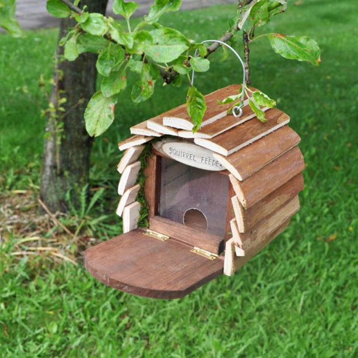 Deluxe Hanging Wooden Squirrel Feeder House with Feeding Platform