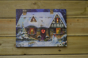Premier 30cm x 40cm Battery Operated Fibre Optic LED Snowy House Scene Canvas