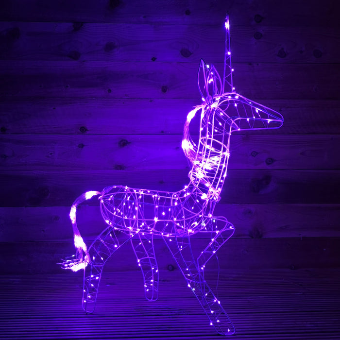 90cm Purple Pin Wire Unicorn with 600 LED Indoor Outdoor Flashing Effect