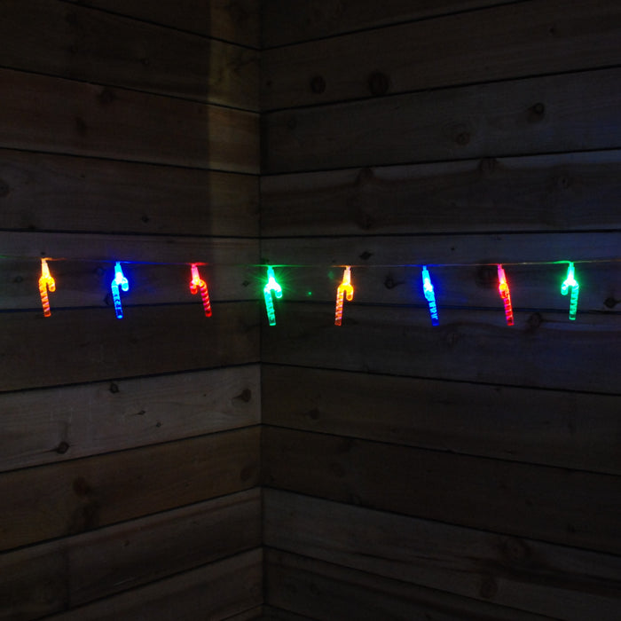 1.9M 20 LED Multi Coloured Indoor Battery Powered Candy Cane Lights