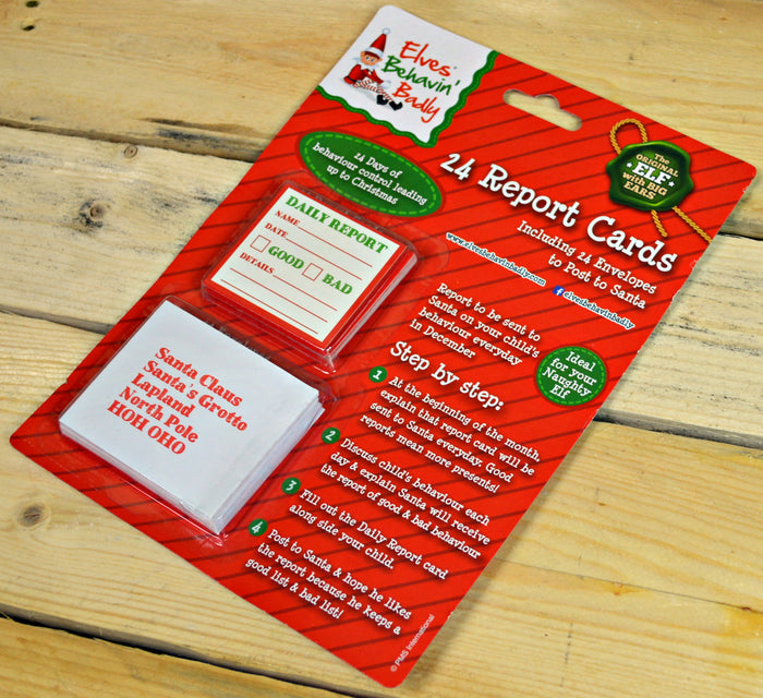 24 Naughty or Nice Elf on the Shelf Report Cards & Addressed Envelopes Advent