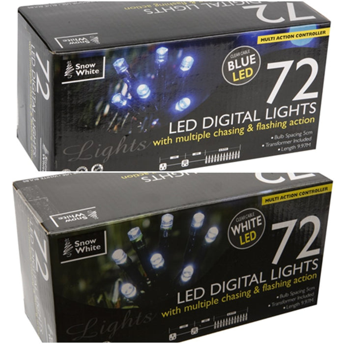 72 LED Digital Outdoor Lights In White or Blue With Chasing/Flashing Lights