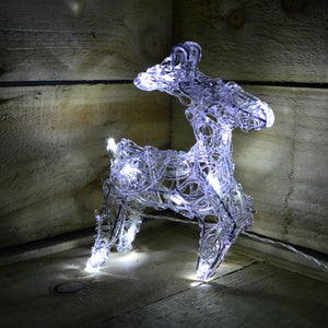Koopman 20cm Acrylic White 16 LED Battery Operated Reindeer In 3 Different Designs - Cheaper-Online.co.uk
