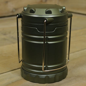 18cm Tall Pop Up Battery Operated LED Camping Lantern Light in Metallic Green