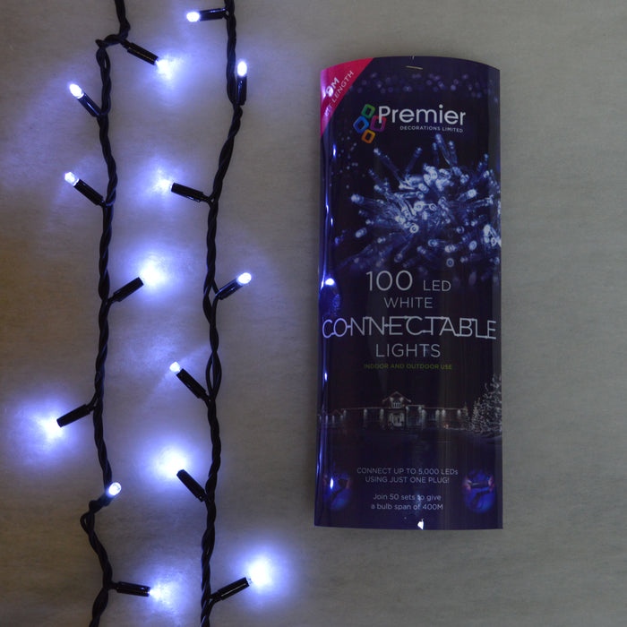 100 Premier Connectable Outdoor or Indoor LED Christmas Lights in White
