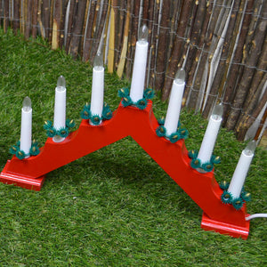 Classic Wooden Christmas Candle Bridge with 7 Candles