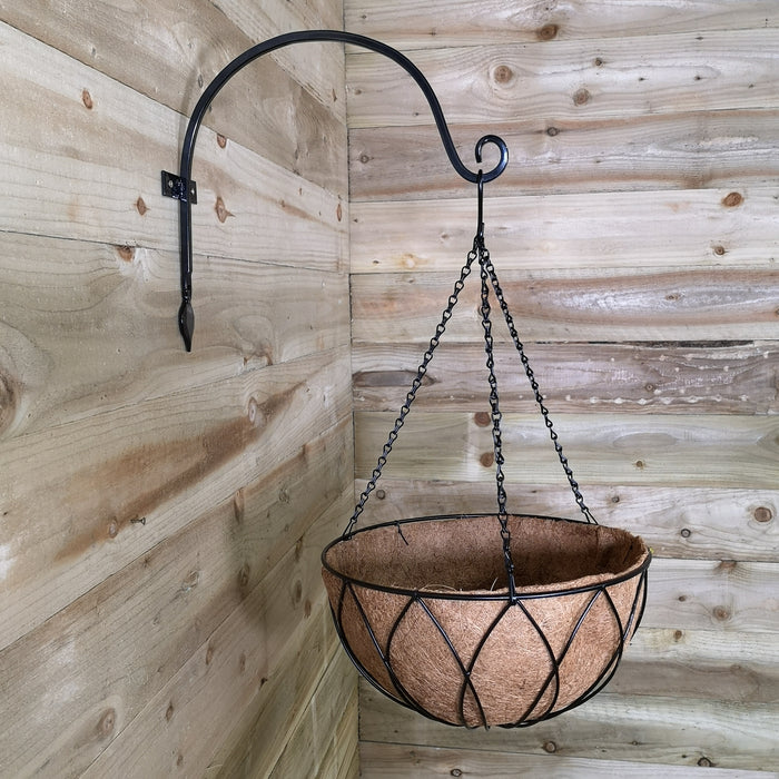 Tom Chambers Black Lattice Metal Garden Patio Flower Wall Hanging Basket with WaterSave Coco Fibre Liner 35cm - Without Bracket