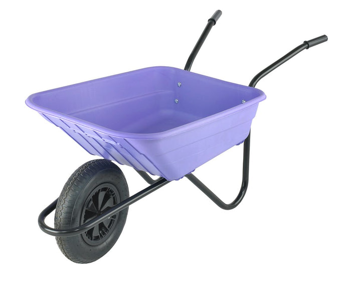 90 Litre Heavy Duty Plastic Wheelbarrow – Lilac / Purple – Pneumatic Wheel
