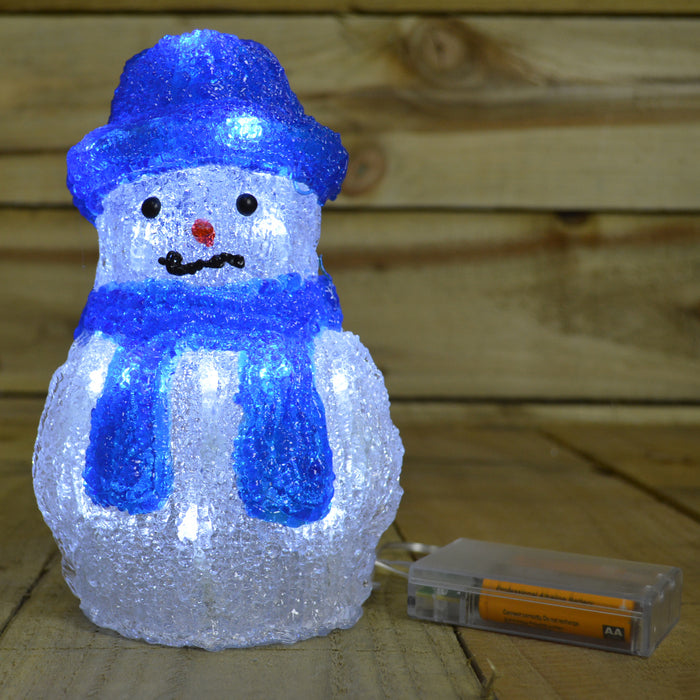 Premier 20cm Indoor Acrylic Battery Operated Snowman With 20 White LEDs