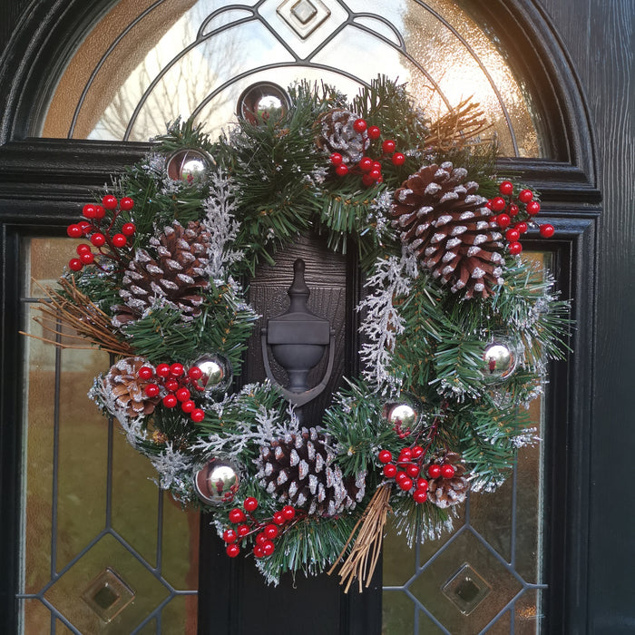 The Tree Company 40cm Festive Silver Dressed Christmas Wreath With Pinecones and Red Berries