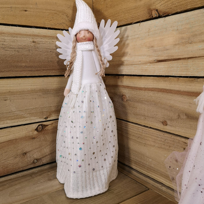 60CM Premier Christmas Angel with Wings and LED Lights - White Hat