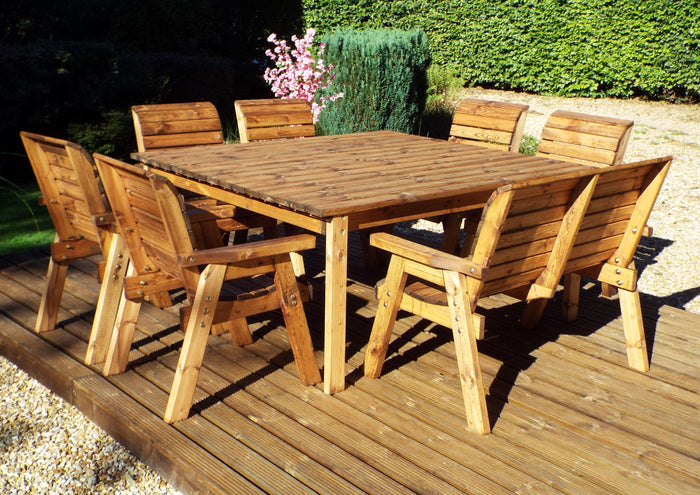 Hand Made Wooden 8 Seater Garden Furniture Table Set 6 chairs, Bench & Captains Table