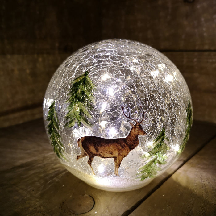 Premier Christmas 15cm LED Crackle Effect Reindeer Scene Ball Battery Operated