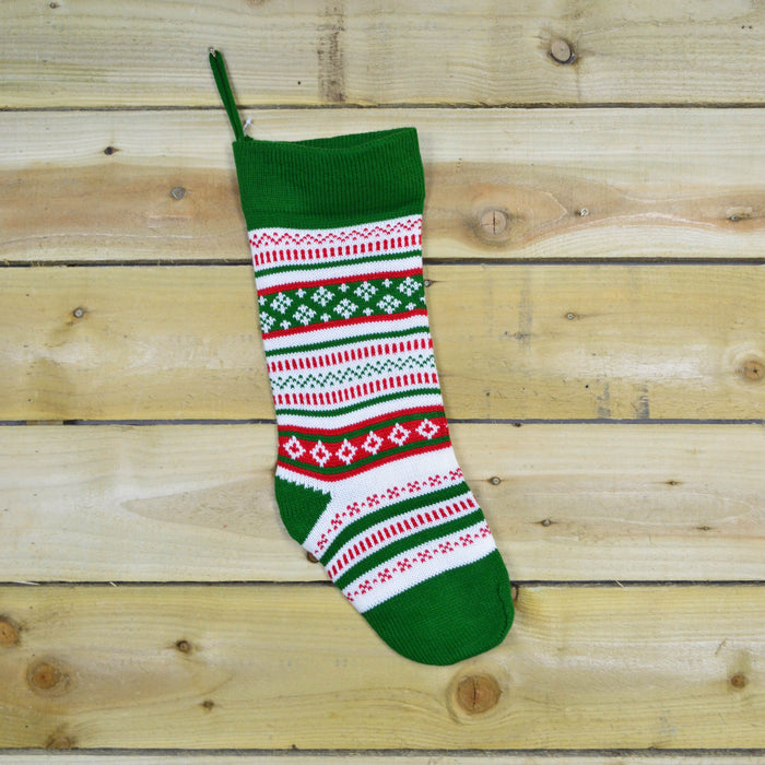 50cm x 15cm Traditional Knitted Christmas Present Sack / Stocking - Design A