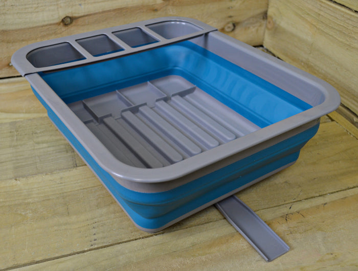 Summit Pop Up Dish Drainer With Draining System Blue / Grey Camping Caravan