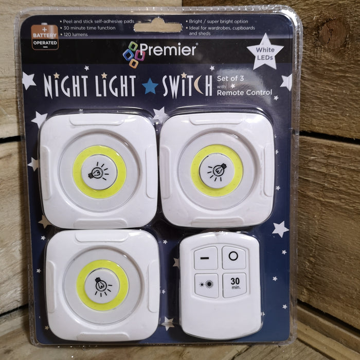 Premier Set of 3 Remote Control LED Bright White Night Lights