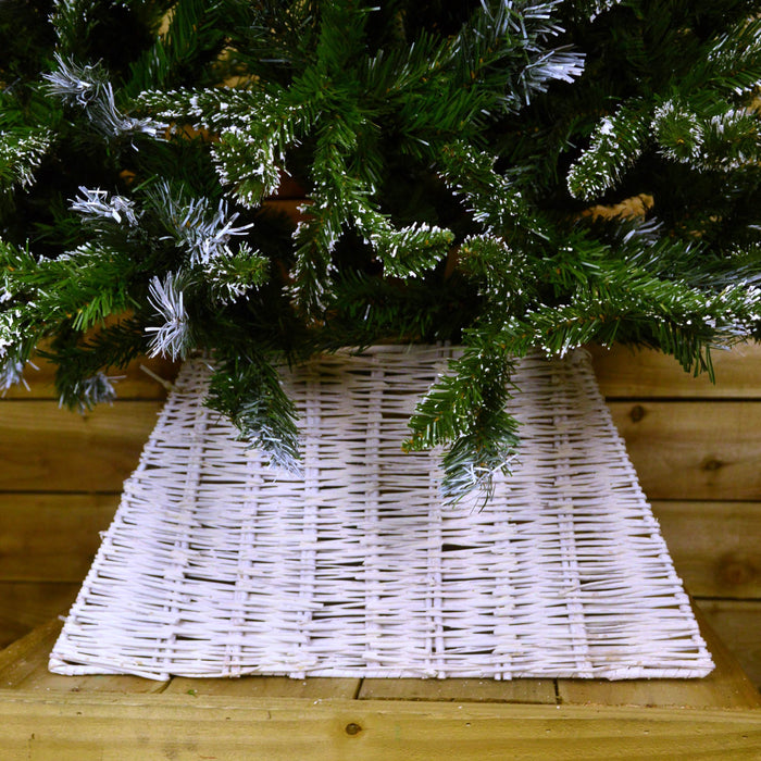 Natural Christmas Wicker Tree Skirt White Washed Premier Decorations 50cm x 35cm