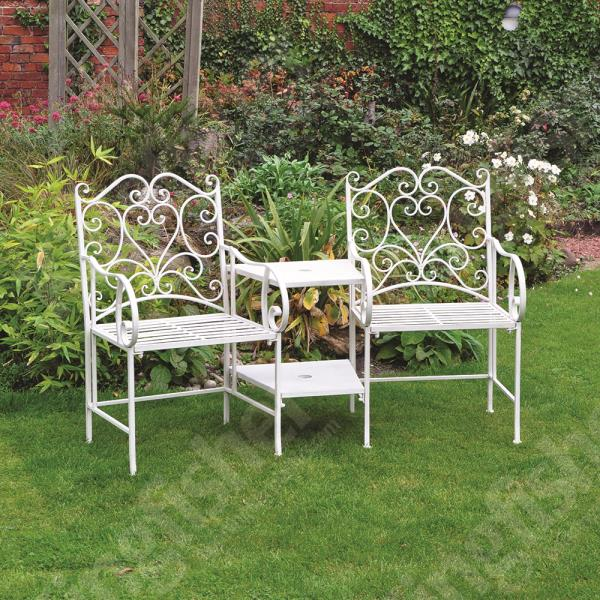 Vintage Style Cream Garden Furniture Love Seat with Parasol Hole