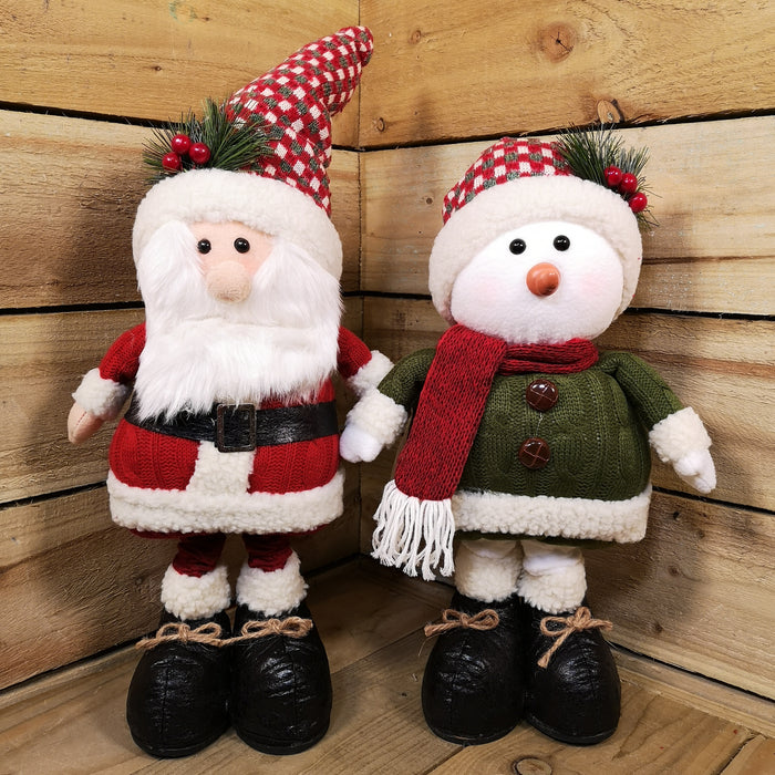 87cm 2 asstd santa / snowman with extendable legs