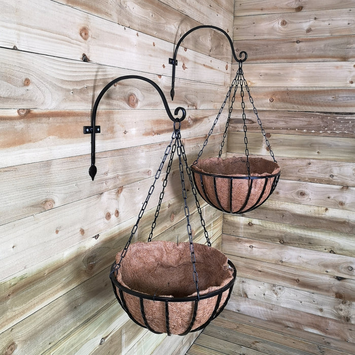Pack of 2 Tom Chambers Heavy Duty Black Metal Steel Twisted Bar Design Garden Patio Hanging Basket with WaterSave Coco Fibre Liner 40cm