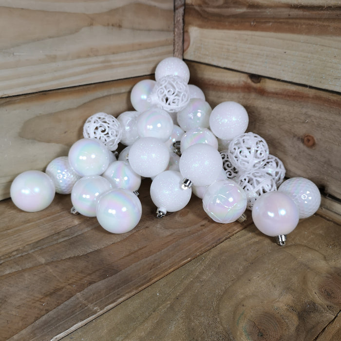 30 Christmas Assorted Piece Shiny, Matte, Glitter White Iridescent Baubles