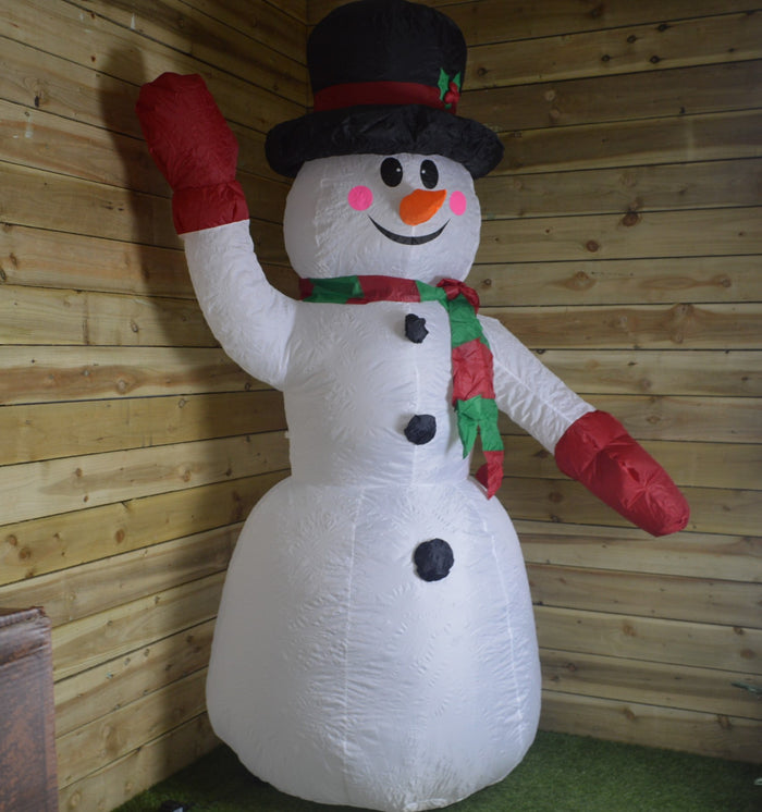 2.4m (8ft) Inflatable Outdoor Christmas Waving Snowman With Top Hat