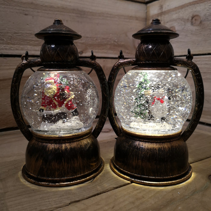 Premier Christmas Choice of 2 Water Spinner Hurricane Lanterns LED Lit