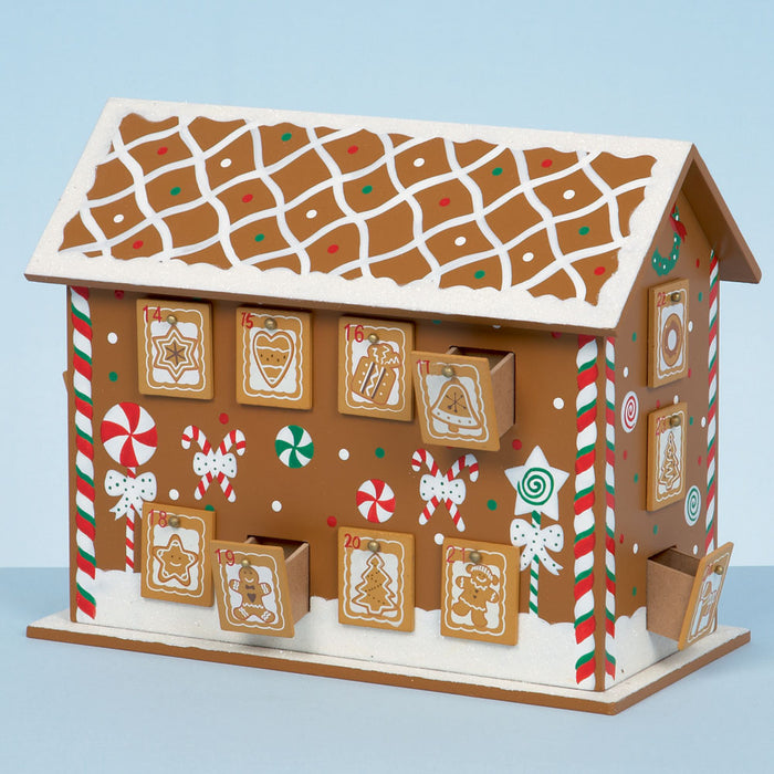 32cm x 26cm Wooden Gingerbread House Christmas Advent Calendar