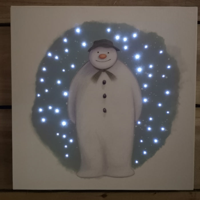Snowtime 30x30cm Christmas The Snowman LED Wall Canvas Picture
