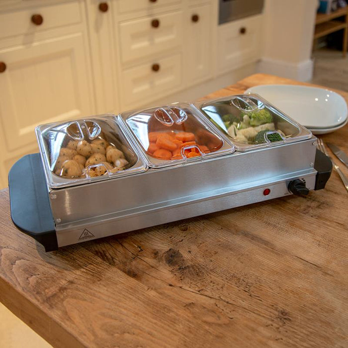 200w Multi Function 3 x 1.5 Litre Pan Buffet Server and Warming Tray Hotplate
