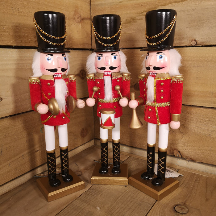"38cm (15"") Band Christmas Wooden Soldier Nutcracker Decoration"