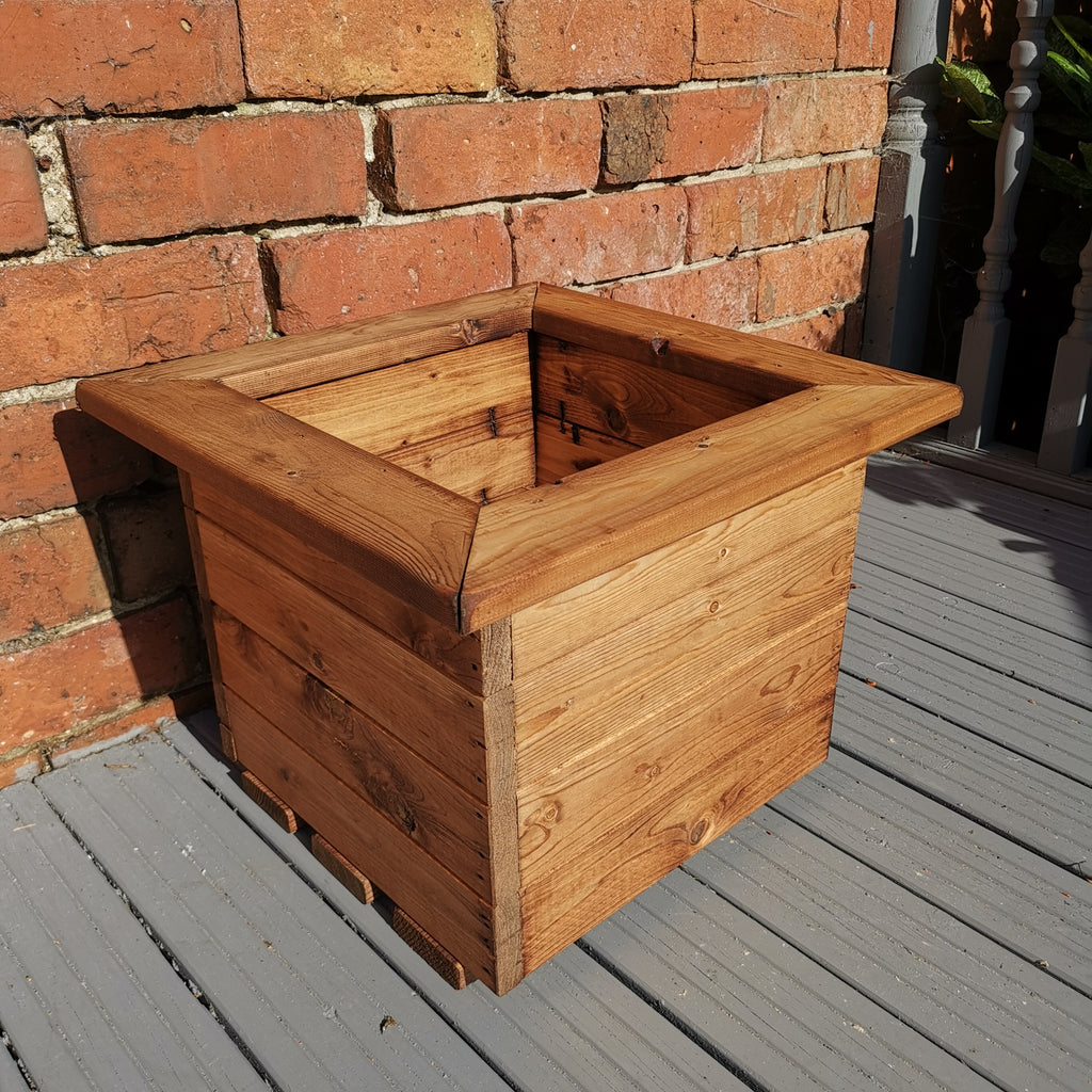 Hand Made 41cm x 41cm Chunky Rustic Wooden Garden Small Square Planter
