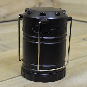 18cm Tall Pop Up Battery Operated LED Camping Lantern Light in Black