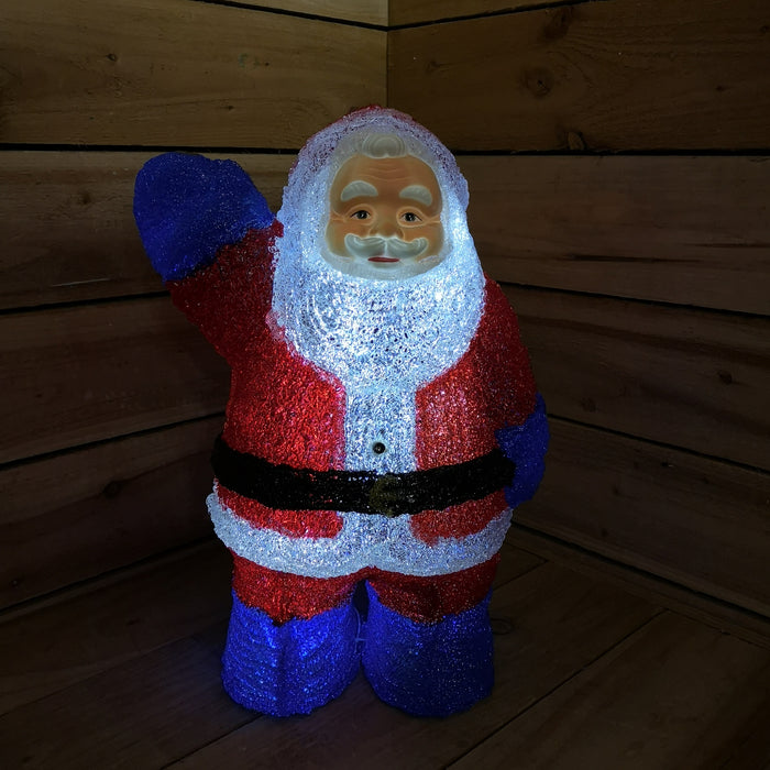 Christmas Festive Acrylic Father Christmas Decoration Lights up & Sings